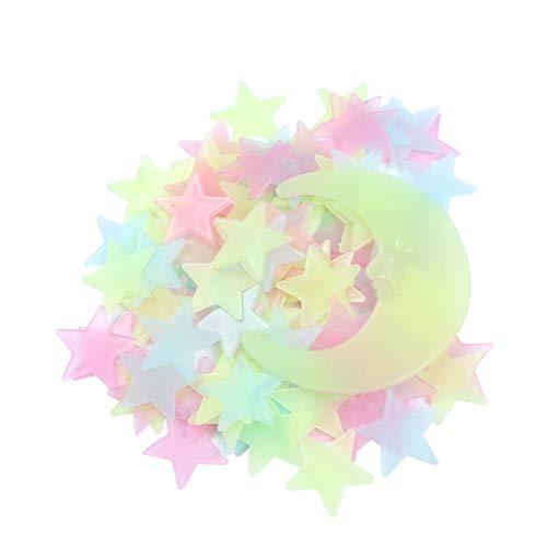 Vosarea Adesivos de parede de estrelas que brilham no escuro 201 peças adesivo luminoso estrela lua fluorescente decalque de teto para crianças, meninas, quarto de bebê, festa, presente de aniversário