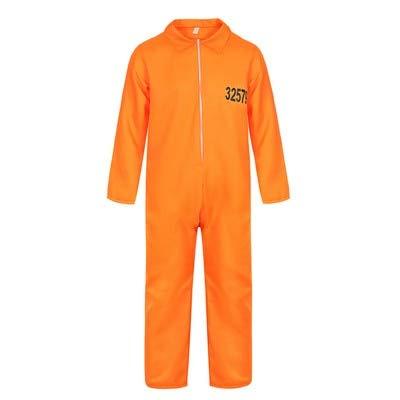 Disfraz de Prisionero fugitivo para Hombre Mono de Prisionero Naranja Prisionero de prisión Disfraces de Halloween para Halloween Unisex Cárcel Criminal Dress Up S Naranja