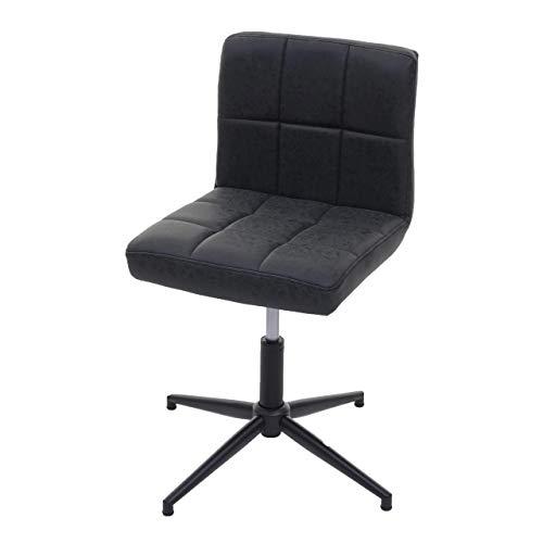 Mendler Esszimmerstuhl Kavala II, Stuhl Küchenstuhl, höhenverstellbar Drehmechanismus ~ Kunstleder dunkelgrau, Fuß schwarz