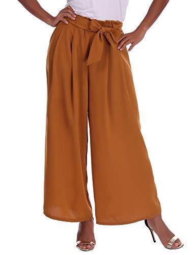 Abollria Damen Weite Hose Chiffon Paperbag Hose Casual Hosen Weite Bein Hohe Taille mit breiter Gummibund und Gürtel - 2