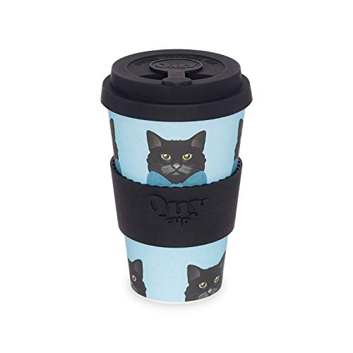 QUY CUP. Pippo. Kaffeebecher to Go, Travel Mug, Bamboo Cup als Mehrweg Tasse für unterwegs, Coffee to go Becher, nachhaltiger Becher mit Deckel und Silikonmanschette, 400ml