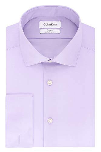 Calvin Klein Men's Dress Shirt Slim Fit Non Iron Solid French Cuff, Lilac, 17' Neck 34'-35' Sleeve (X-Large)