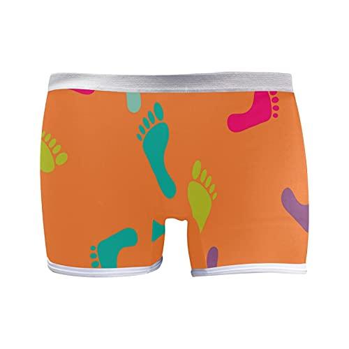 PUXUQU Calzoncillos cortos para mujer con patrón de huella colorida para mujer