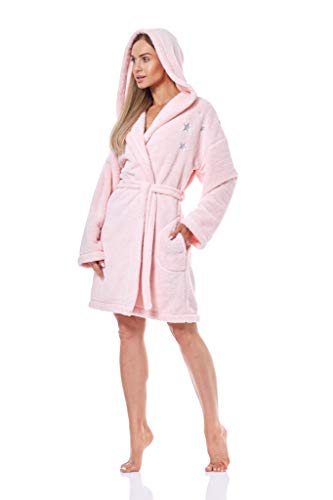 L&L - 9138 Bademantel Damen Soft Langarm Bademantel. Extrem leicht. Hausmantel Bademantel mit Kapuze für Damen (Light Pink, Medium)