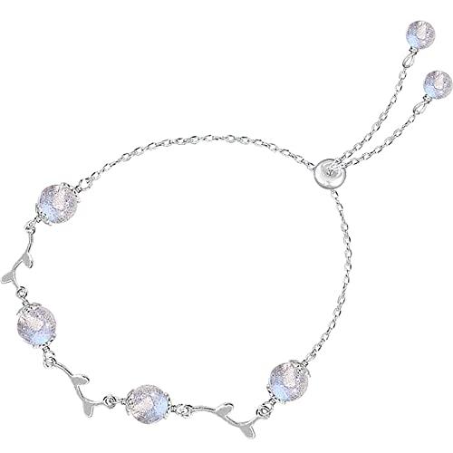 HYK Pulsera de plata de ley 925 con gradiente de piedra de luna con ramas de flores delicadas, pulsera ajustable, regalo de joyería para mujer, Navidad, plata