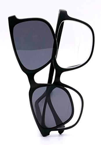Bifokal Herrenbrille mit magnetischem Sonnenaufsatz (+2,50 dpt)