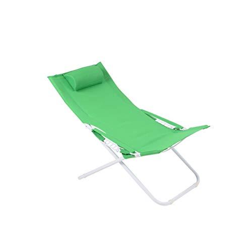 Fzw Chaise longue réglable en acier (Couleur : Green, taille : 55 * 77 * 113cm)