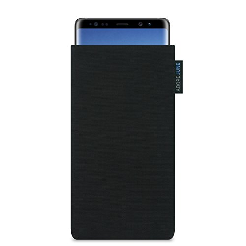 Adore June Classic Schwarz Tasche für Samsung Galaxy Note 8 Handytasche aus beständigem Cordura Stoff | Robustes Zubehör mit Bildschirm Reinigungs-Effekt | Made in Europe