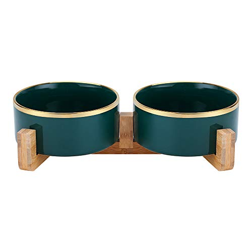 HCHLQLZ Grünes Phnom Penh Keramik Hundenapf Futternapf Fressnapf Napf für Hund Katzen mit Massivholz Ständer (2 Stück)