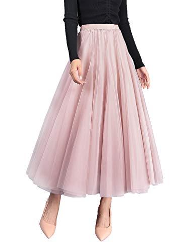 Edler Tüllrock Maxirock A Linie Elastischer Hoher Bund Großer Saum Cool Prinzessin Langer Rock für Damen Mädchen Must-Haves der Saison - Einfarbig Pink
