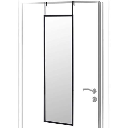 Espejo para Puerta Moderno, Acabado Brillo de PVC, para Dormitorio, sin Agujeros - Hogar y Más - Negro