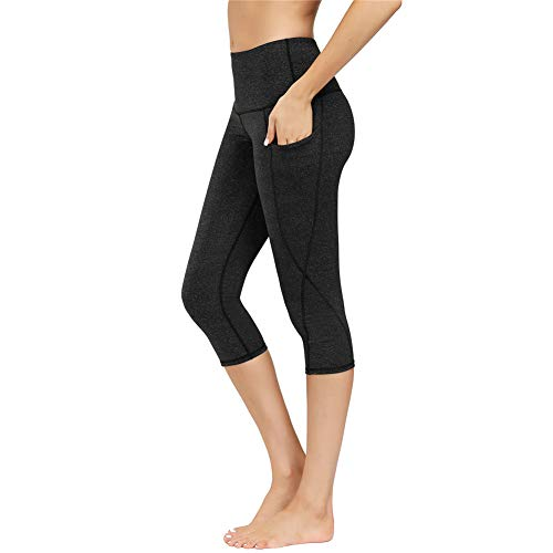 IceUnicorn Damen Sport Leggins Hohe Taille Tights 3/4 Yogahose Blickdichte Kurz Laufhos Fitness Hosen Jogginghose mit Taschen Short(3/4 Hanf G/Schwarz, M)