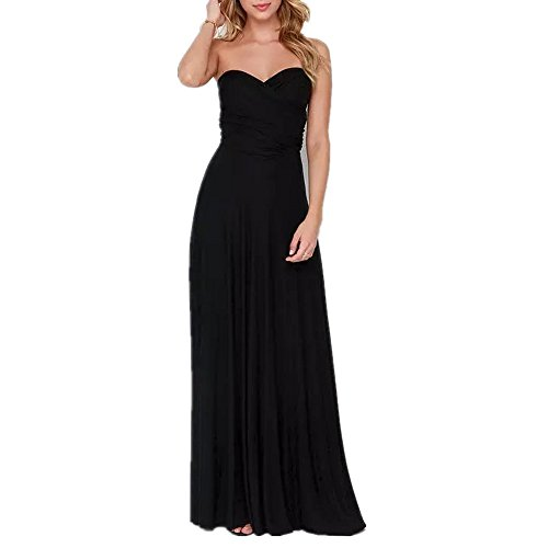 Frauen Sexy Lange Abendkleid Elegant V-Ausschnitt Bodenlangen Multi-Way Party Cocktailkleid Brautjungfer Kleider (L, Schwarz)