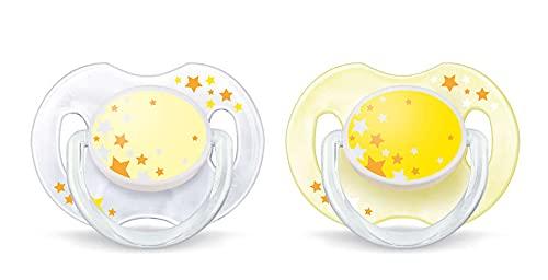 Philips Avent SCF176/18 - Chupete nocturno que brilla en la oscuridad, 2 unidades, de 0 a 6 meses, niño, surtido: modelos y colores aleatorios