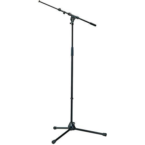 K&M - König & Meyer 21090.500.55 - Tripod Microphone Stand - Adjustable Telescoping 2-Piece Boom Arm - Professional Grade - Heavy Duty with Folding Leg Base - German Made - Black