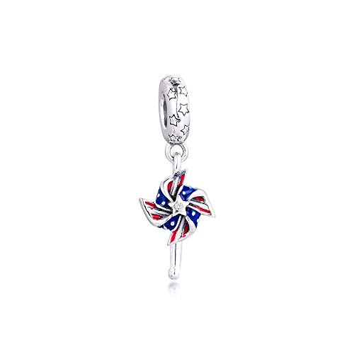 Diy American Pinwheel Dangle Charm For Bracelets Women Charms 925 Sterling Silver Pendant