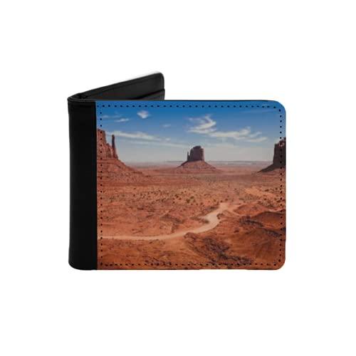 Portefeuille Mince en Cuir pour Hommes,Décor Occidental Désert américain Arizona Canyon Monuments Valley National Park Far West,Portefeuille Minimaliste à Deux Volets avec Poche Avant