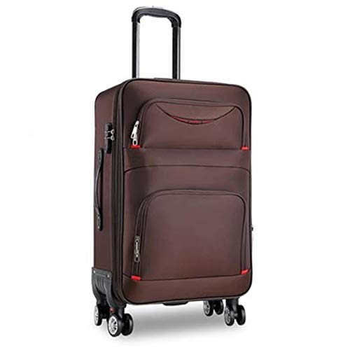 QFSZWX 20/22/24/26/28Inch waterproof Oxford Rolling Luggage Spinner men Business Brand Suitcase Wheels High capacity (Color : Brown, Luggage Size : 26')