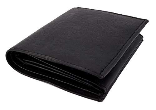 Schwarze Herren-Geldbörse aus schwarzem Nappa-Leder, Hochformat, mit RFID & NFC Schutz. 10 Kartenfächer, 2-Fach Geldscheinfach, 2 Ausweis-Fächer, Münzfach, 4 Innenfächer