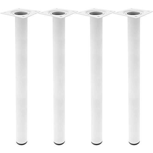 PrimeMatik - Runde Tischbeine für Schreibtische Schränke Möbel aus Weiss Stahl 75cm 4-Pack