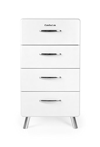 Tenzo COBRA Designer Chiffonnier (L 50) 4 tiroirs, Panneaux de Particules/MDF, Blanc, 50x43x92 cm