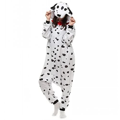 WEIYIing Unisex Adultos Blanco dálmata Punto Perro Disfraz Pijama Halloween Navidad Onesies Adolescentes Dibujos Animados Lounge Wear-Perro_L