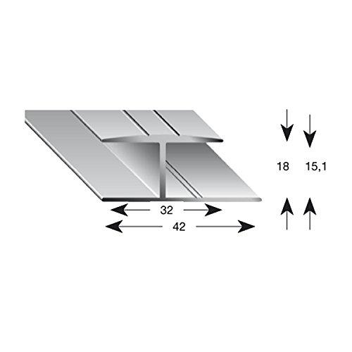Kogels 12150 S 90 vloer glijprofiel 900 mm, H-profiel, aluminium, naturel geanodiseerd voor vloerdikte 15 mm