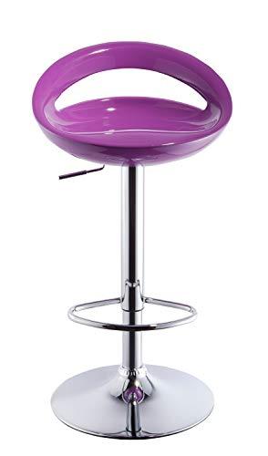2x Sgabelli da bar in plastica regolabile in altezza con schienale girevole design elegante selezione colore Duhome 147, colore:viola, materiale:plastica