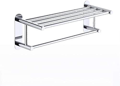 JYV Montado en la Pared 3M Pegamento Toalla de baño Carril Perforado Estante, Punch-Toalla Libre del Estante de Acero Inoxidable, 24.6'