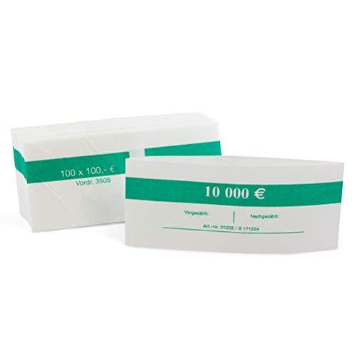 1000 Stück Geldbanderole Papier für: 100 x 100 € grün, Banderolen für (Neue) Euro Geldscheine