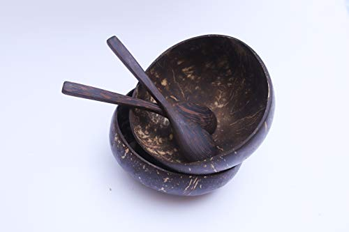 Natural Coconut Bowls and Coconut Spoons (Set of 2 Bowls and 2 Spoons) - 100% Natural Serving Bowls