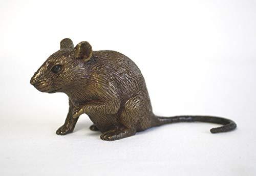 Thermobrass Bronzefigur kleine lebensechte Maus Nagetier Dekoration für den Garten - 13x6x4 cm Braun
