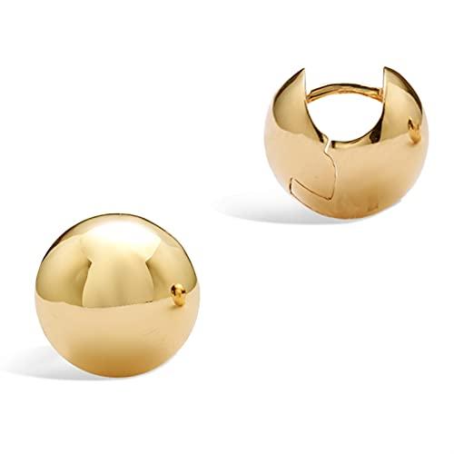 WENMENG2021 Pendientes de Diamantes Pendientes chapados en Oro Amarillo de 18K con Cierre - Banda Gruesa, Ancha, joyería de aro Curvado para Damas - Regalo de Moda para Mujeres Pendientes Colgantes