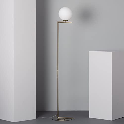LEDKIA LIGHTING Lampada da Terra Moonlight 1650x320x290 mm Dorato E27 Alluminio - Vetro per Sale, Soggiorno, Cucina, Camera