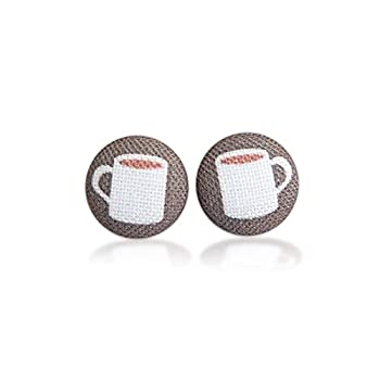 Cup of Coffee Fabric Button Earrings