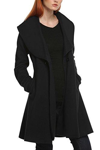 ANGVNS Damen Mantel, Einfarbig Gr. Medium, schwarz