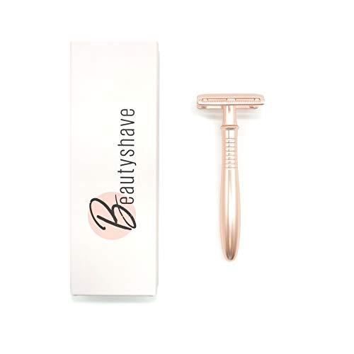 Beautyshave Rasierhobel Damen nachhaltig inkl. 5 Wechselklingen Roségold | hochwertige Verarbeitung | Nassrasierer