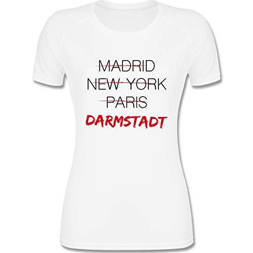 Shirtracer Städte - Weltstadt-Darmstadt - XL - Weiß - Stadt - F355 - atmungsaktives Funktionsshirt für Damen