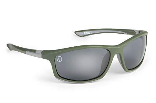FOX Sunglasses - Polarisationsbrille zum Karpfenangeln, Brille für Angler, Angelbrille, Polbrille, Modell:grün/silberfarbener Rahmen/graue Gläser