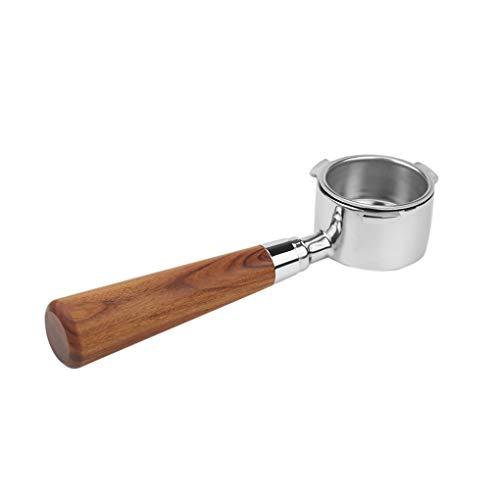 Ruiboury Mango de filtro de café sin fondo, soporte de café, herramienta de mano para bebida, color rojo rosa madera B1 para Delonghi EC680 / EC685