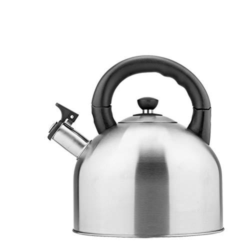the teapot company 4.4L Whistle Teiera, Stufa Moderna in Acciaio Inox, Impugnatura Ergonomica, for tè E caffè O Latte, Argento/Blu/Rosso/Bianco (Colore : Silver)