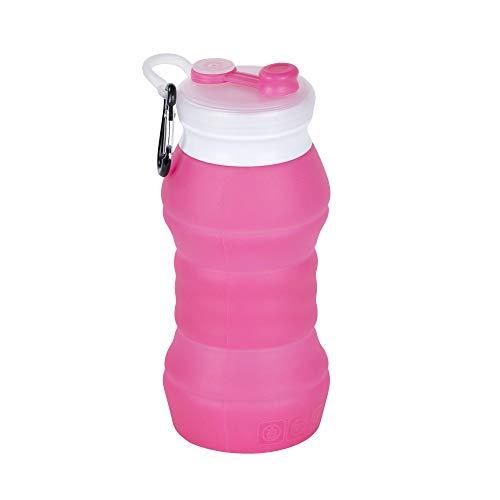 Botella agua silicona plegable Botella deportiva Botellas de Silicona Botella de Agua portátiles Botella portátiles Plegables de Viaje 480ml(Rosa Roja)