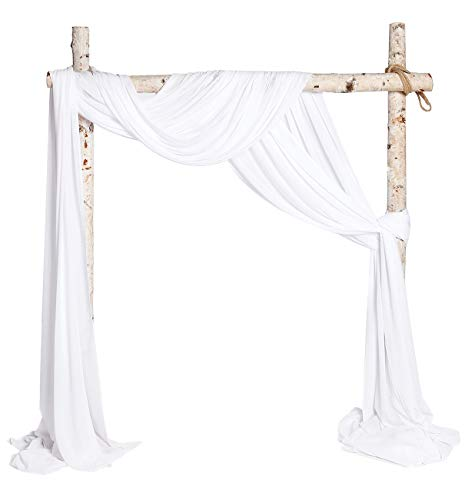 SHERWAY 2 Panels Chiffon Fabric Drapery Wedding Arch Drapes, Party Backdrop Curtain Panels, Ceremony Reception Swag Decoration (27 x 216 Inch, White & White)