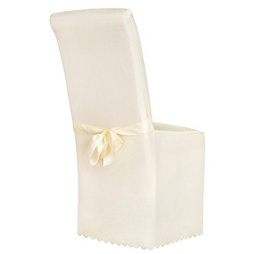 TecTake Stuhlhusse Stuhlüberzug Stuhlbezug mit Schleife - Diverse Farben - (Beige)