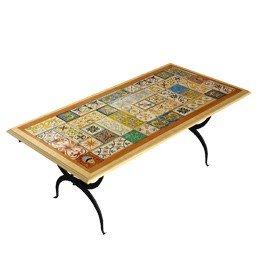 'dafnedesign. com–Mesa con mosaico de jardín y de taverna Mod.'Mirto rectangular 200x 100, H 75cm, con piano de Travertino y mosaico con azulejos de Cotto decoradas a mano (Sillas no incluidas)