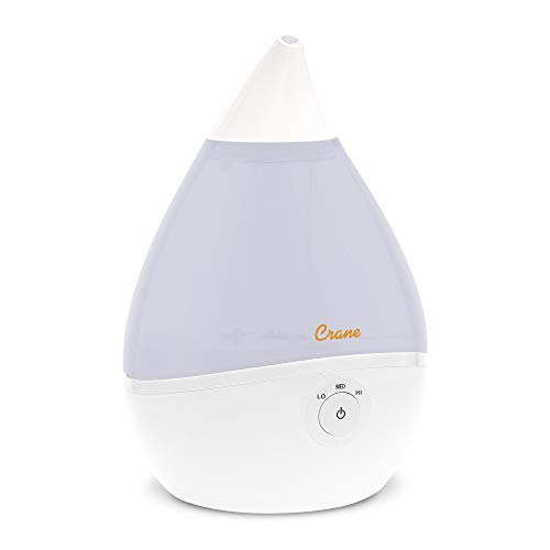 Crane Droplet Ultrasonic Cool Mist Humidifier, Filter Free, 0.5 Gallon with Optional Vapor Pad Slot, 3 Speed Output Settings, White