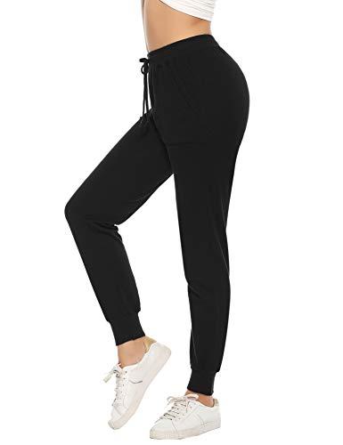 Aibrou dames joggingbroek sportbroek vrije tijd broek katoen lang voor joggen lopen fitness trainingsbroek met strepen