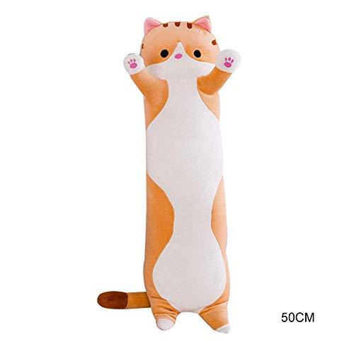 iSunday Süße Plüsch Katze Puppe Weiche Gefülltes Kätzchen Kissen Puppe Spielzeug Geschenk für Kinder Freundin - Braun, 70Cm