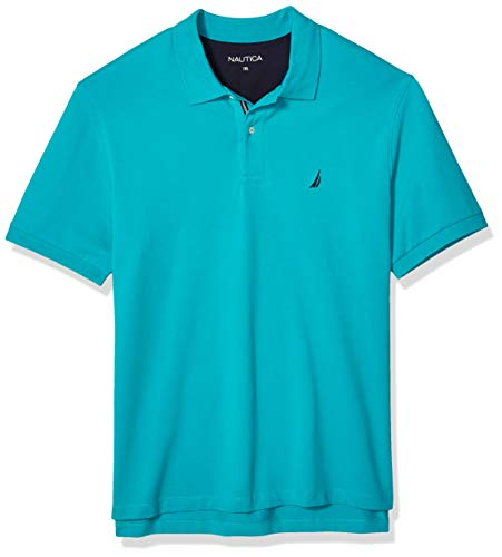 Nautica Herren Short Sleeve Stretch Solid Deck Polo Shirt Poloshirt, Gulf Coast Teal, 1X