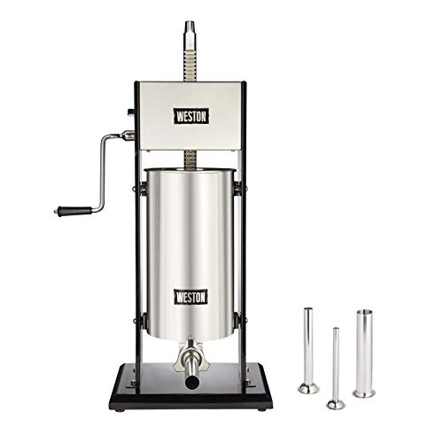 Weston 30 Lb. Vertical Sausage Stuffer with All-Metal Gears and Commercial-Grade Performance, Black